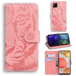 Intricate Embossing Tiger Face Leather Wallet Case for Samsung Galaxy A42 5G - Pink