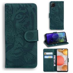 Intricate Embossing Tiger Face Leather Wallet Case for Samsung Galaxy A42 5G - Green