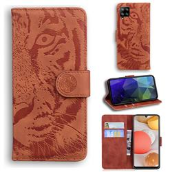 Intricate Embossing Tiger Face Leather Wallet Case for Samsung Galaxy A42 5G - Brown