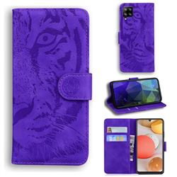 Intricate Embossing Tiger Face Leather Wallet Case for Samsung Galaxy A42 5G - Purple