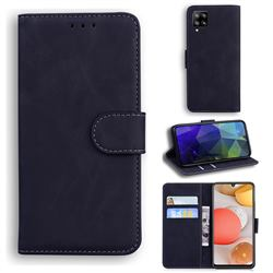 Retro Classic Skin Feel Leather Wallet Phone Case for Samsung Galaxy A42 5G - Black