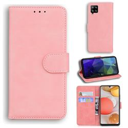 Retro Classic Skin Feel Leather Wallet Phone Case for Samsung Galaxy A42 5G - Pink