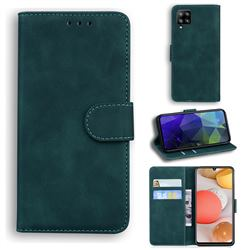 Retro Classic Skin Feel Leather Wallet Phone Case for Samsung Galaxy A42 5G - Green