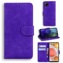 Retro Classic Skin Feel Leather Wallet Phone Case for Samsung Galaxy A42 5G - Purple