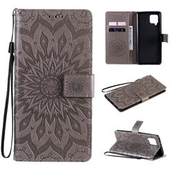 Embossing Sunflower Leather Wallet Case for Samsung Galaxy A42 5G - Gray
