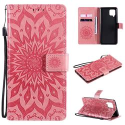 Embossing Sunflower Leather Wallet Case for Samsung Galaxy A42 5G - Pink