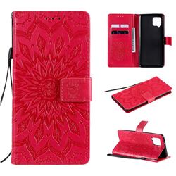 Embossing Sunflower Leather Wallet Case for Samsung Galaxy A42 5G - Red
