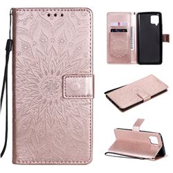 Embossing Sunflower Leather Wallet Case for Samsung Galaxy A42 5G - Rose Gold