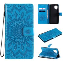 Embossing Sunflower Leather Wallet Case for Samsung Galaxy A42 5G - Blue