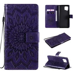 Embossing Sunflower Leather Wallet Case for Samsung Galaxy A42 5G - Purple