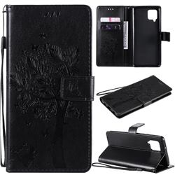Embossing Butterfly Tree Leather Wallet Case for Samsung Galaxy A42 5G - Black