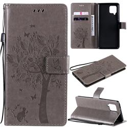 Embossing Butterfly Tree Leather Wallet Case for Samsung Galaxy A42 5G - Grey