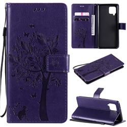 Embossing Butterfly Tree Leather Wallet Case for Samsung Galaxy A42 5G - Purple