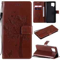 Embossing Butterfly Tree Leather Wallet Case for Samsung Galaxy A42 5G - Coffee