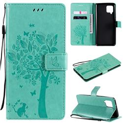 Embossing Butterfly Tree Leather Wallet Case for Samsung Galaxy A42 5G - Cyan