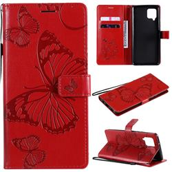 Embossing 3D Butterfly Leather Wallet Case for Samsung Galaxy A42 5G - Red