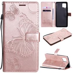 Embossing 3D Butterfly Leather Wallet Case for Samsung Galaxy A42 5G - Rose Gold