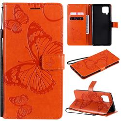 Embossing 3D Butterfly Leather Wallet Case for Samsung Galaxy A42 5G - Orange