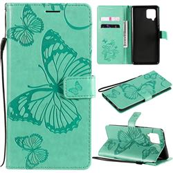 Embossing 3D Butterfly Leather Wallet Case for Samsung Galaxy A42 5G - Green