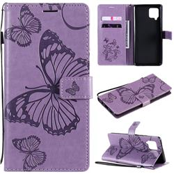 Embossing 3D Butterfly Leather Wallet Case for Samsung Galaxy A42 5G - Purple