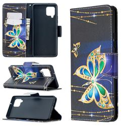 Golden Shining Butterfly Leather Wallet Case for Samsung Galaxy A42 5G