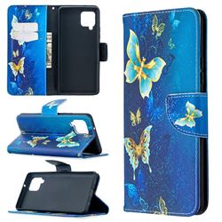 Golden Butterflies Leather Wallet Case for Samsung Galaxy A42 5G