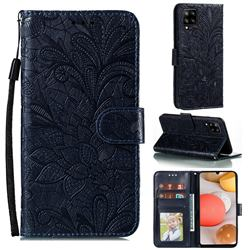 Intricate Embossing Lace Jasmine Flower Leather Wallet Case for Samsung Galaxy A42 5G - Dark Blue