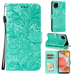 Intricate Embossing Lace Jasmine Flower Leather Wallet Case for Samsung Galaxy A42 5G - Green
