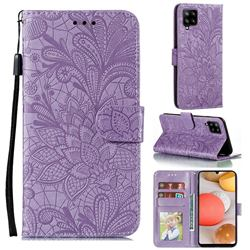 Intricate Embossing Lace Jasmine Flower Leather Wallet Case for Samsung Galaxy A42 5G - Purple