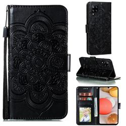 Intricate Embossing Datura Solar Leather Wallet Case for Samsung Galaxy A42 5G - Black