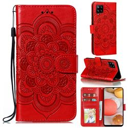 Intricate Embossing Datura Solar Leather Wallet Case for Samsung Galaxy A42 5G - Red