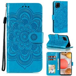 Intricate Embossing Datura Solar Leather Wallet Case for Samsung Galaxy A42 5G - Blue