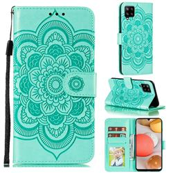 Intricate Embossing Datura Solar Leather Wallet Case for Samsung Galaxy A42 5G - Green