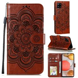 Intricate Embossing Datura Solar Leather Wallet Case for Samsung Galaxy A42 5G - Brown