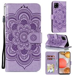 Intricate Embossing Datura Solar Leather Wallet Case for Samsung Galaxy A42 5G - Purple