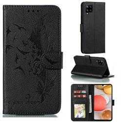 Intricate Embossing Lychee Feather Bird Leather Wallet Case for Samsung Galaxy A42 5G - Black