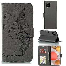 Intricate Embossing Lychee Feather Bird Leather Wallet Case for Samsung Galaxy A42 5G - Gray