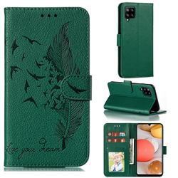 Intricate Embossing Lychee Feather Bird Leather Wallet Case for Samsung Galaxy A42 5G - Green