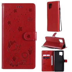 Embossing Bee and Cat Leather Wallet Case for Samsung Galaxy A42 5G - Red
