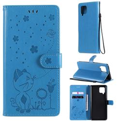 Embossing Bee and Cat Leather Wallet Case for Samsung Galaxy A42 5G - Blue