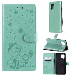 Embossing Bee and Cat Leather Wallet Case for Samsung Galaxy A42 5G - Green