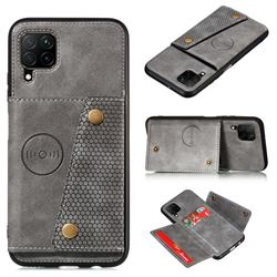 Retro Multifunction Card Slots Stand Leather Coated Phone Back Cover for Samsung Galaxy A42 5G - Gray