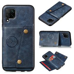 Retro Multifunction Card Slots Stand Leather Coated Phone Back Cover for Samsung Galaxy A42 5G - Blue