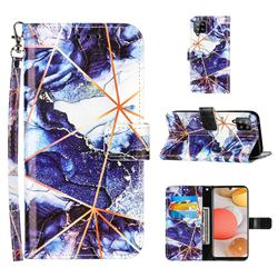 Starry Blue Stitching Color Marble Leather Wallet Case for Samsung Galaxy A42 5G