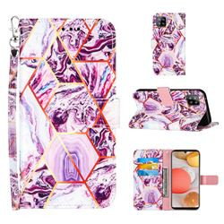 Dream Purple Stitching Color Marble Leather Wallet Case for Samsung Galaxy A42 5G