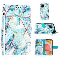 Lake Blue Stitching Color Marble Leather Wallet Case for Samsung Galaxy A42 5G