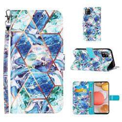 Green and Blue Stitching Color Marble Leather Wallet Case for Samsung Galaxy A42 5G