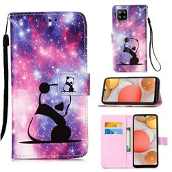 Panda Baby Matte Leather Wallet Phone Case for Samsung Galaxy A42 5G