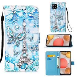 Tower Butterfly Matte Leather Wallet Phone Case for Samsung Galaxy A42 5G