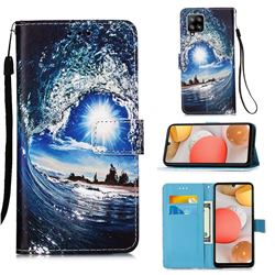 Waves and Sun Matte Leather Wallet Phone Case for Samsung Galaxy A42 5G